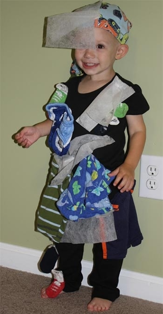Affix clothing and dryer sheets to yourself to personify static cling.