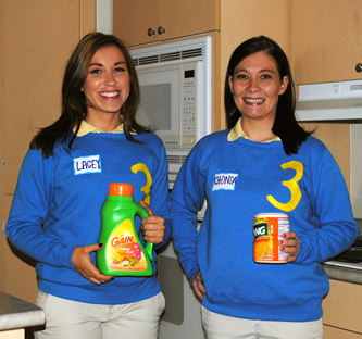 Household products and numbered sweaters make an easy Supermarket Sweep costume.