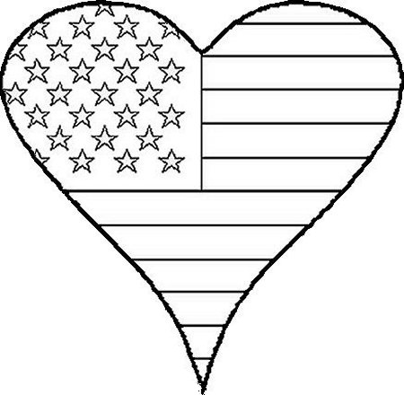 Stunning Heart American Flag Coloring Page Pictures Coloring