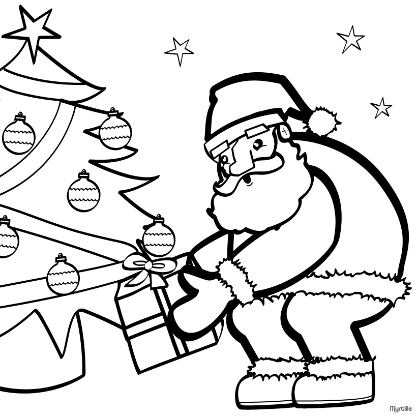 Santa coloring pages 2018 - Coloriage papa noel ...