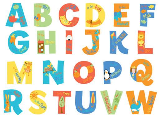 Alphabet wall decals