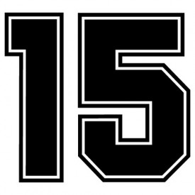 """Pump Decal- White on Black, """"Number 15""""  