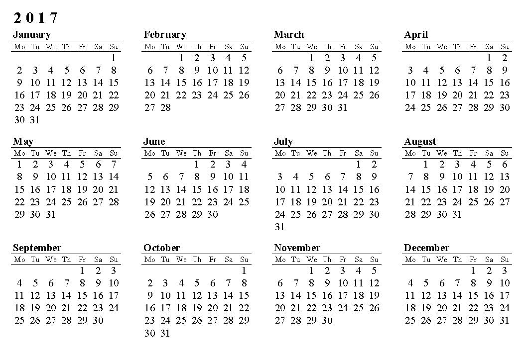 2017 Calendar Printable - Dr. Odd