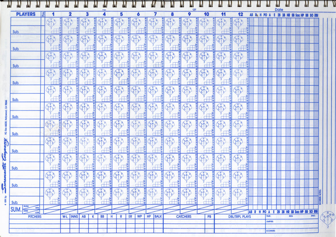 Baseball Score Sheet 2017 – Baseball Scoresheet