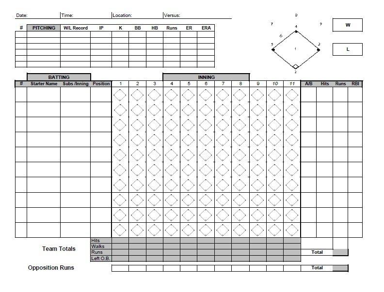 Baseball Score Sheet - 2019