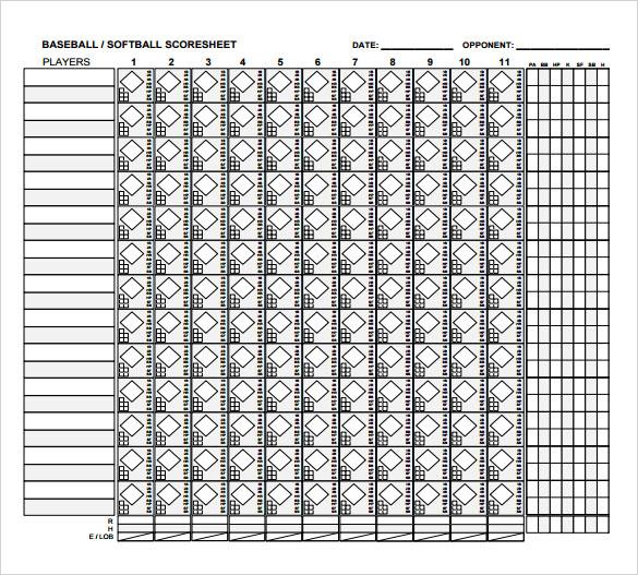 Baseball Score Sheet - 2018
