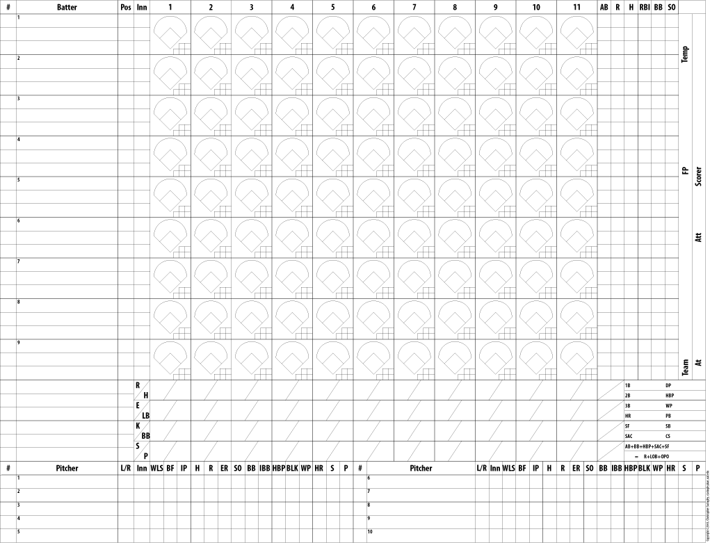baseball score sheet printable
