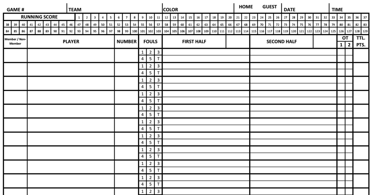 Basketball Score Sheet 2017