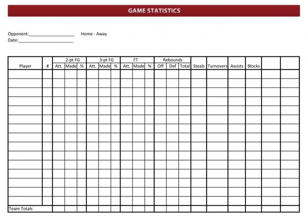 Basketball Stat Sheet 2019