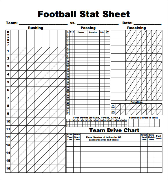 Football Stat Sheet 2019