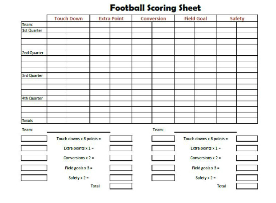 football score sheet score sheet football - Carnaval.jmsmusic.co