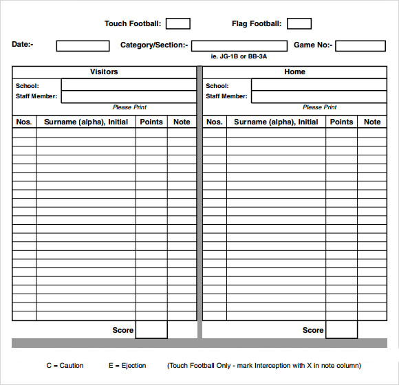 Score Sheet For Football