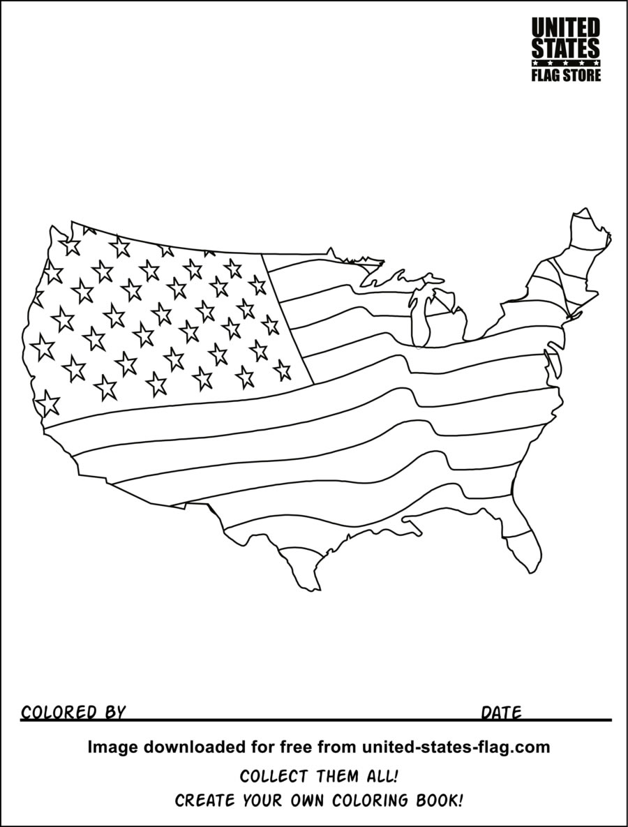 American flag coloring pages 2018- Dr. Odd
