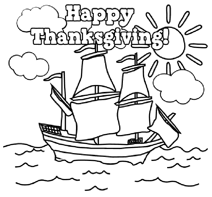 A Masted Ship No Pilgrims Says Happy Thankgsgiving Above It