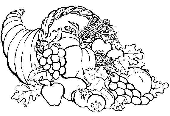 Thanksgiving Coloring Pages on horn of plenty coloring pages